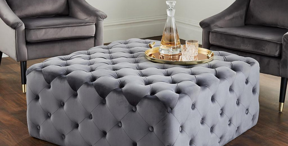 square grey velvet ottoman with button detailing