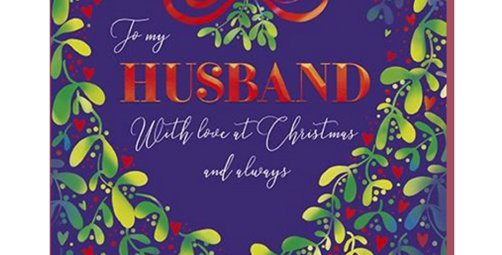 Navy background with green and red mistletoe wreath and words to my husband with love at Christmas and always