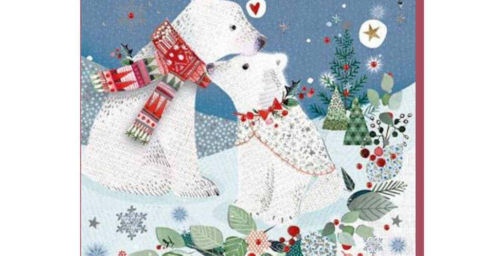 Husband christmas cards with cartoon polar bear couple and words to my wonderful husband I'm dreaming of a white christmas
