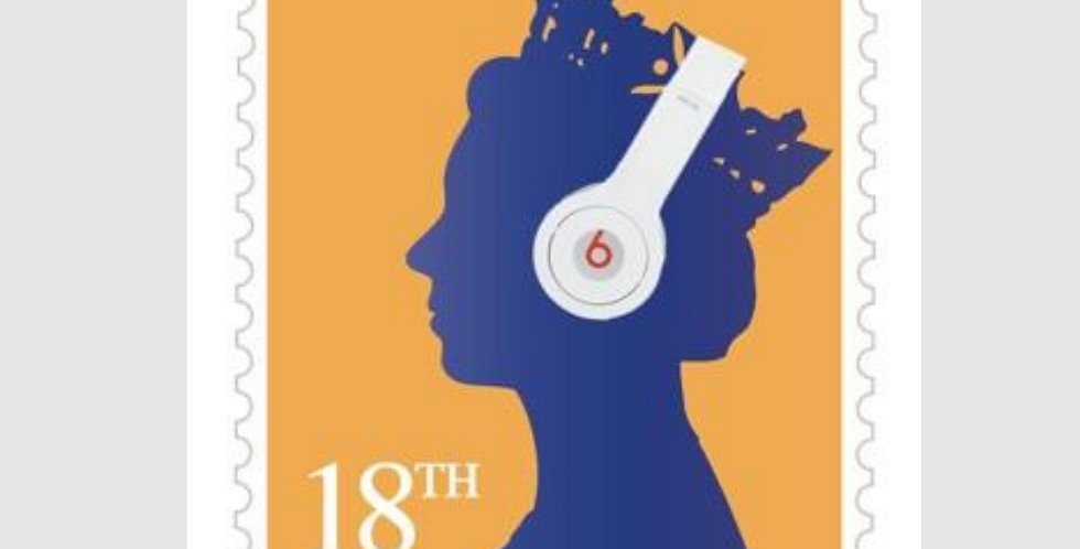 18th Birthday card design like a stamp with a yellow background and blue queen's head. Queen is wearing headphones