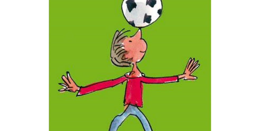 Boys birthday card featuring cartoon boy playing football with words birthday boy