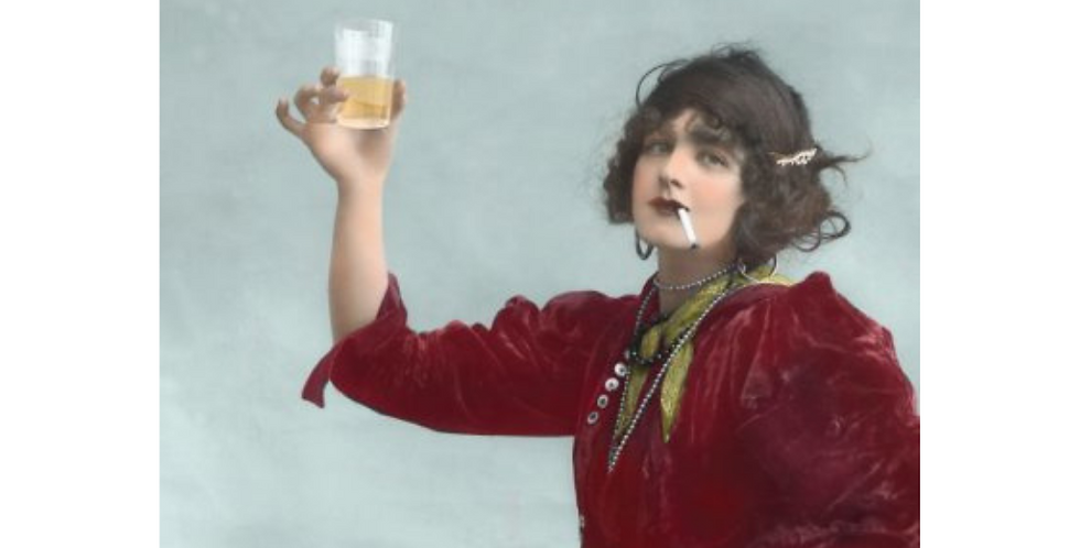 Birthday Card featuring vintage picture of a woman drinking and secret of a long life joke