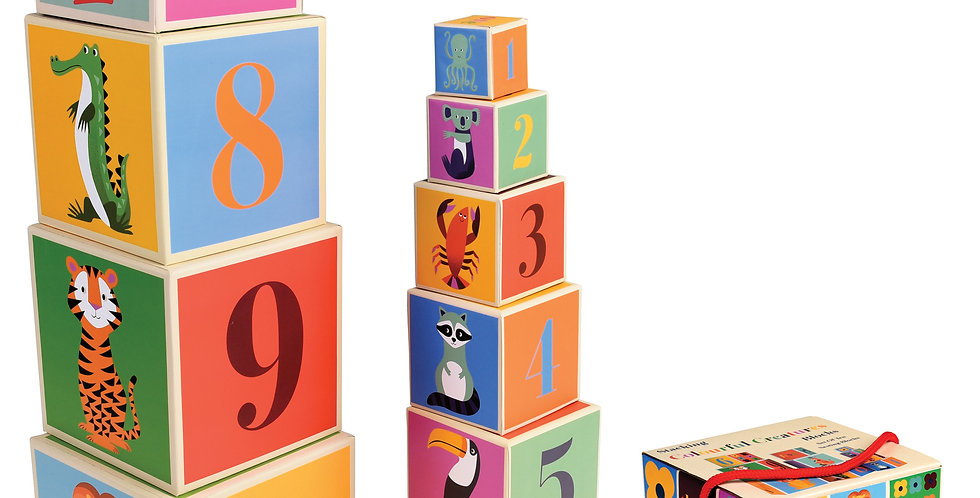 colourful creatures stacking blocks for toddlers