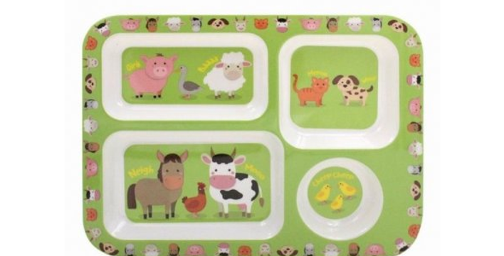 Child's compartment tray - green background and farmyard animal illustrations