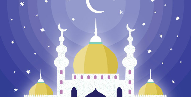 Eid card featuring mosque and starry night with wording Eid Mubarak