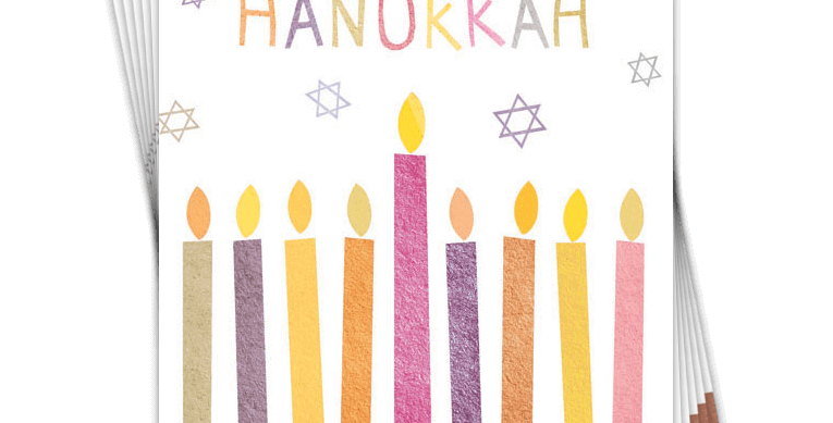 6 pack of hanukkah cards with candles and message happy hanukkah