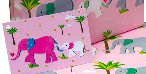 pale pink gift tag with mother and baby elephants