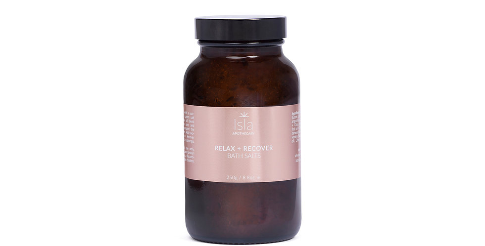 Relax & Recover bath salts comforting and grounding blend of essential oils designed to transport the mind and body into deep