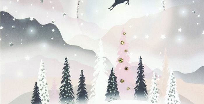 Snowy landscape with leaping reindeer with words To A Dear Daughter with love at Christmas