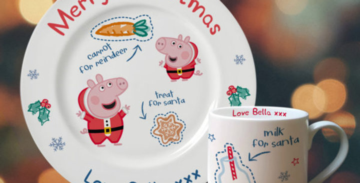 personalised peppa pig santa treat plate