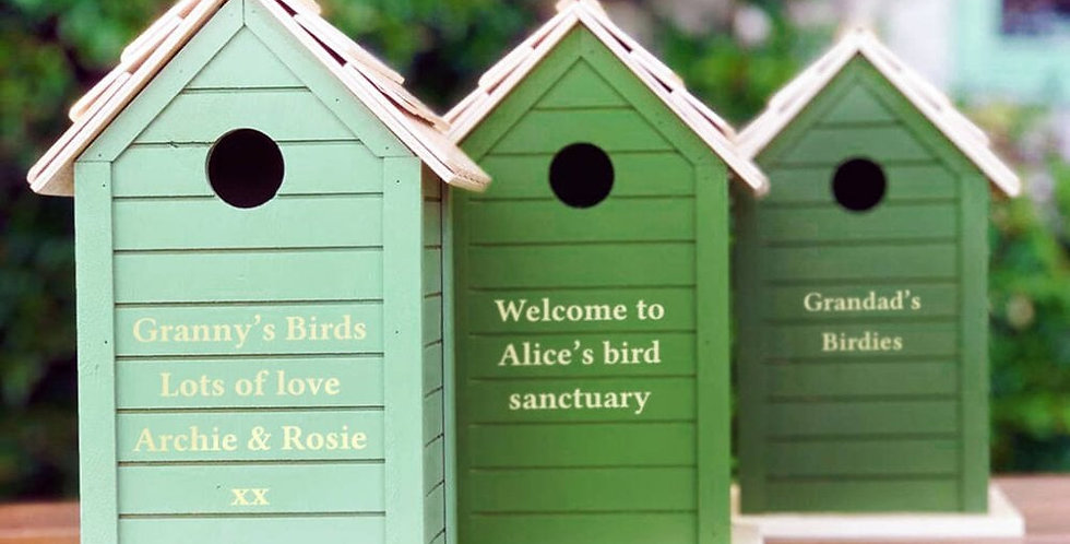3 green colour options for personalised bird house