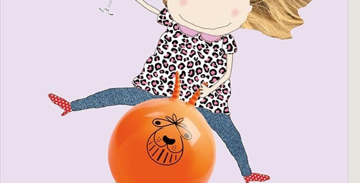 Funny birthday card with woman on a spacehopper and holding a drink saying Here's to another year of complete disregard for