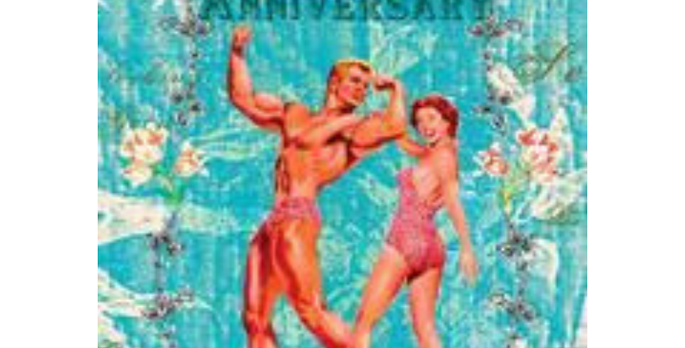 Tiki style Happy Anniversary card featuring muscle man and lady in swimsuit