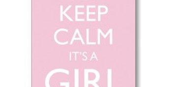 pale pink new baby card with white crown and wording keep calm it's a girl