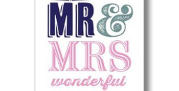 white wedding day card with blue grey and pink writing mr & mrs wonderful