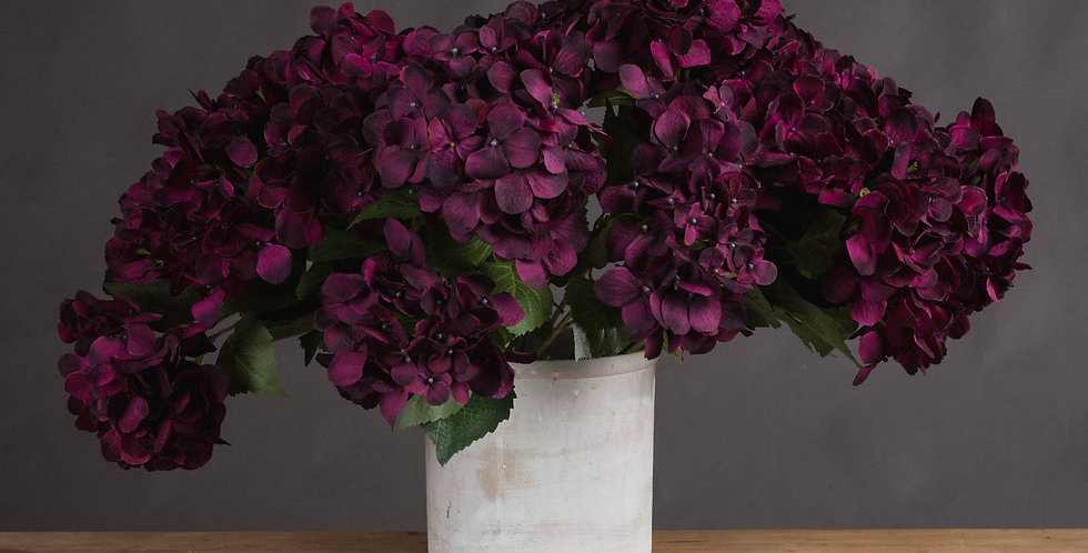 faux purple hydrangea bouquet