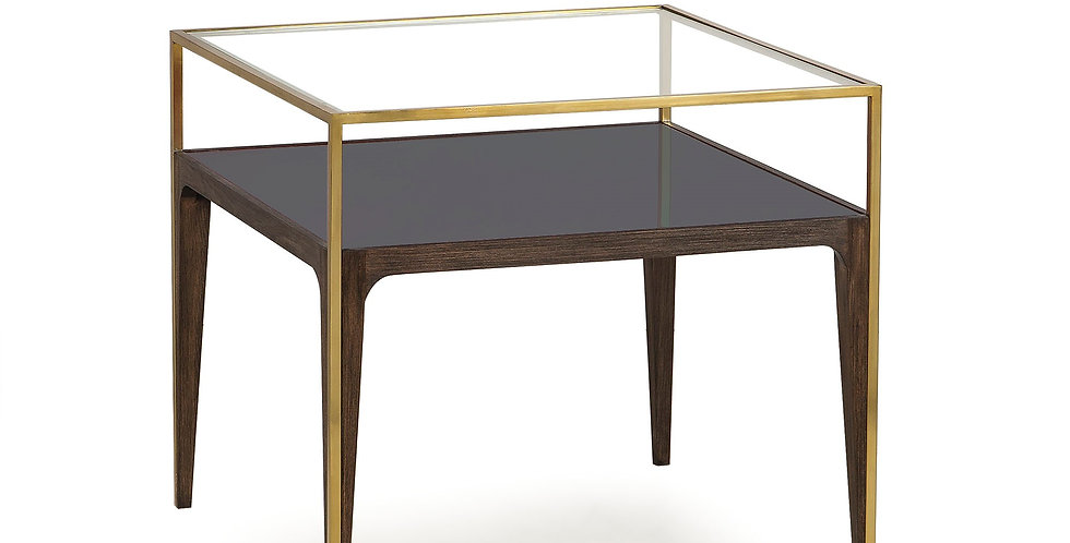 Anart deco style beechwood frame side table with a smoked glass shelf and transparent glass top.
