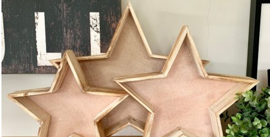 Natural Wooden Star Trays set of 3