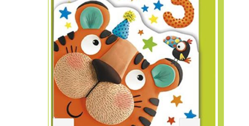3rd birthday card with cute tiger