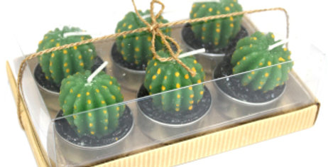 Clear Box with Six Green Cactus Shaped Candles
