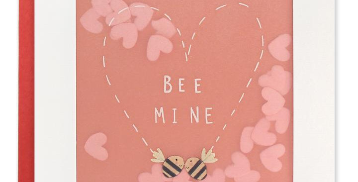 valentines day card with faded red background, pair of bees with flight that has made a heart shape, pink confetti