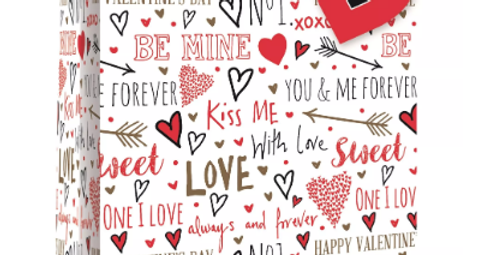 Large Valentine's gift bag with hearts and words like kiss me, be mine, love and xoxo. Black and red on white background with