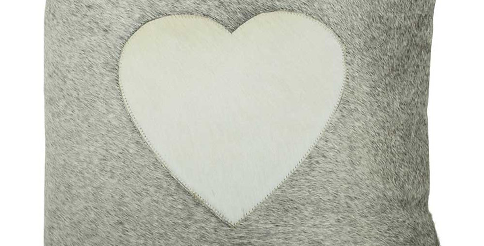 Vintage Leather Heart Cushion. Grey Leather front with cream heart. Cream reverse.