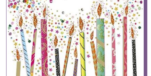 Birthday card with multicoloured lit candles and Happy Birthday message