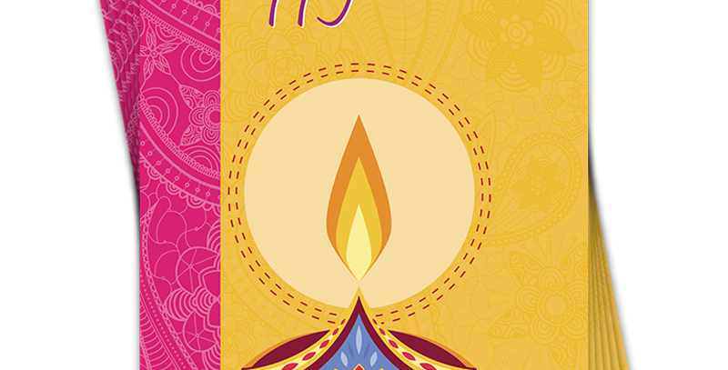 six pack of diwali cards. Yellow background with lit oil lamp and pink edging