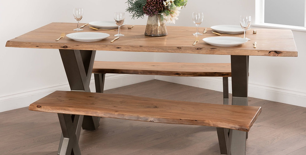 Rectangular Indian Acacia Wood Rustic 4 Seat Dining Table with Minimalist Grey Metal Cross Legs