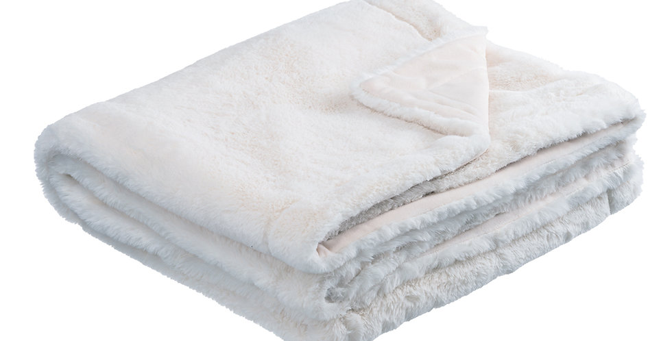 Ecru faux rabbit fur blanket. A velvet soft blanket.