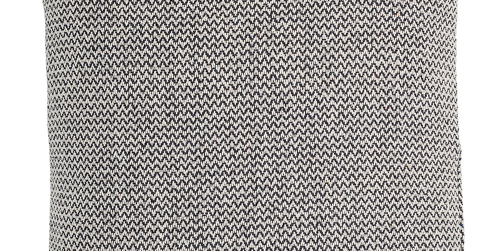 yarn dyed, woven cushion, grey and natural in colour, is beautifully textured and features a wavy pattern