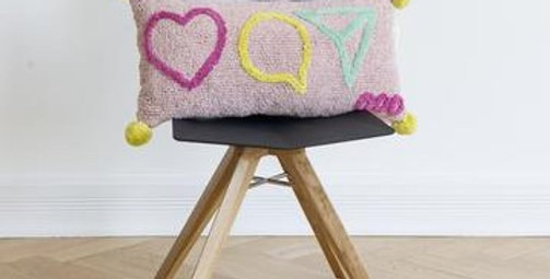 Influencer cushion. Rectangular pale pink cushion with yellow pom poms to corners & instagram icons in fuschia, yellow & aqua