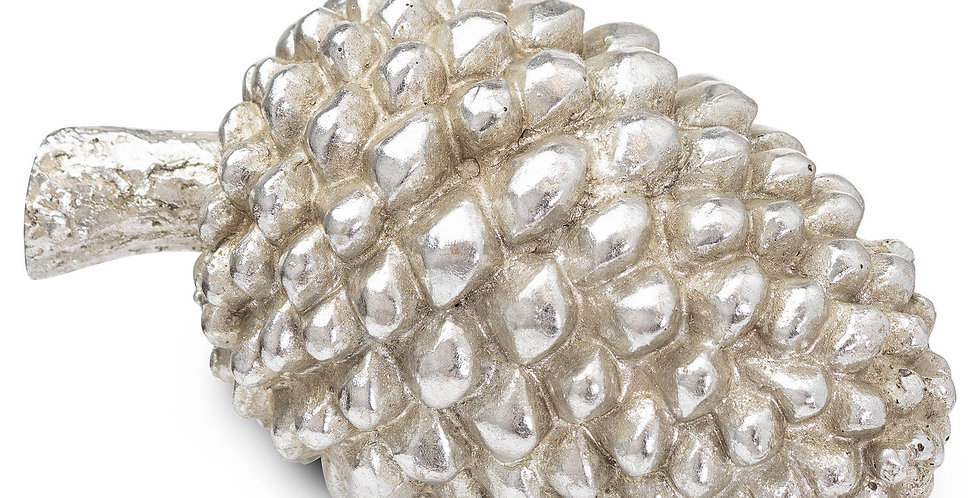 large decorative silver pinecone