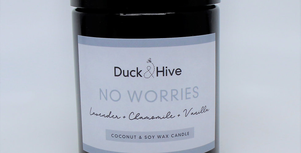 No Worries soy wax candle scented with French lavender, vanilla bean and chamomile