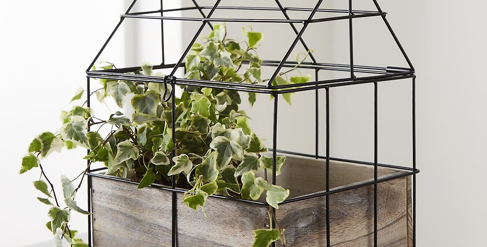 wood and metal tabletop greenhouse planter