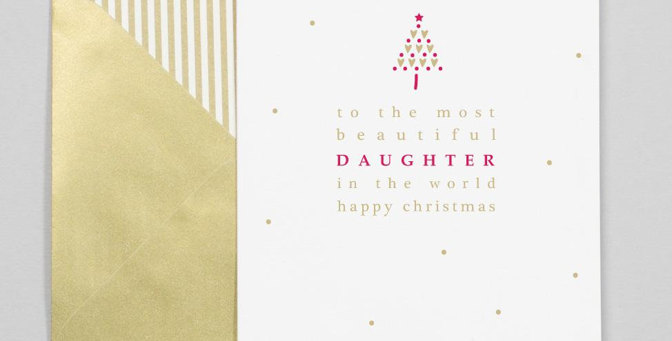 White background with gold dots red and gold tree and text saying to the most beautiful daughter in the world happy christmas
