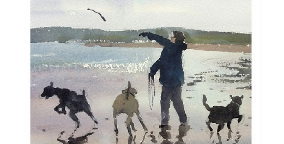 Father's Day card with watercolour picture of man walking on beach with dogs