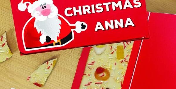 white chocolate pick n mix personalised chocolate bar