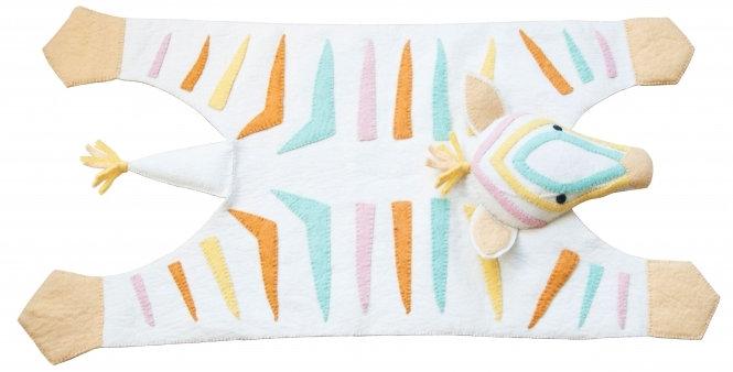 Natural pastel cream zebra rug