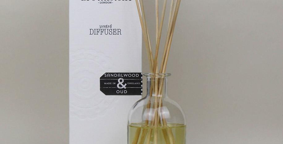 A luxurious diffuser with a warming fragrance from Brownstone London features a sensuous blend of sandalwood and oud
