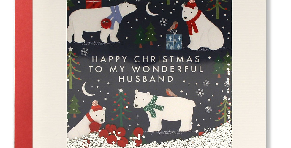 Husband christmas card with cartoon polar bears at night with confetti and words Happy Christmas to my wonderful husband