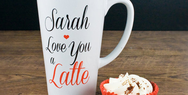 Personalised White Mug Reading ' Sarah, I Love You A Latte' In Black and Red Cursive