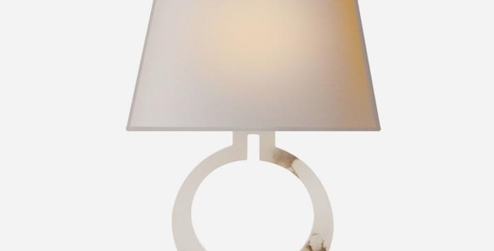 Ring shaped Alabaster white Table Lamp