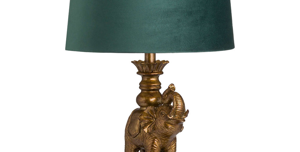 lamp with antique gold elephant base and emerald green lampshade