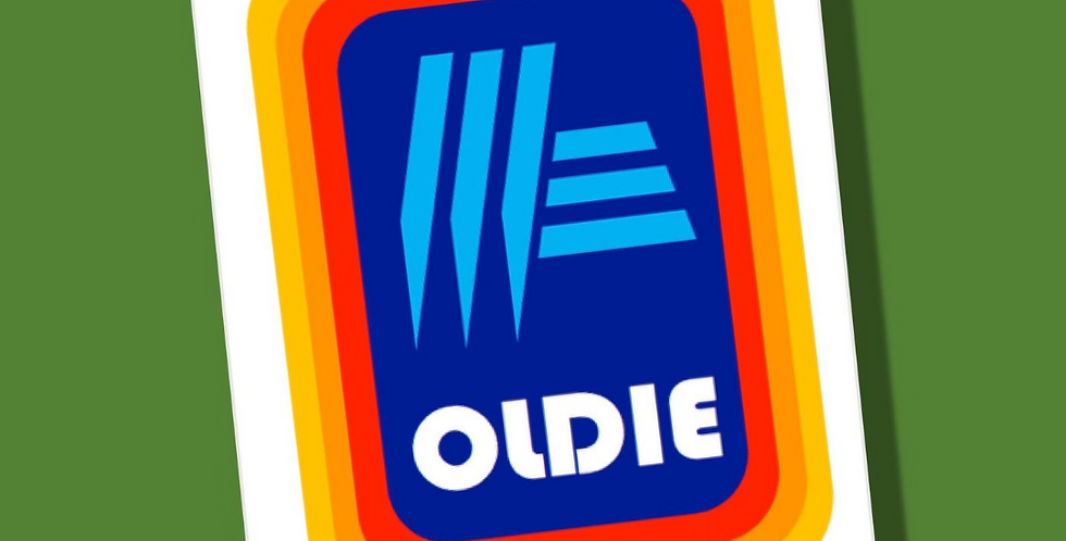 Birthday card styled like Aldi supermarket logo but with word Oldie under graphic.