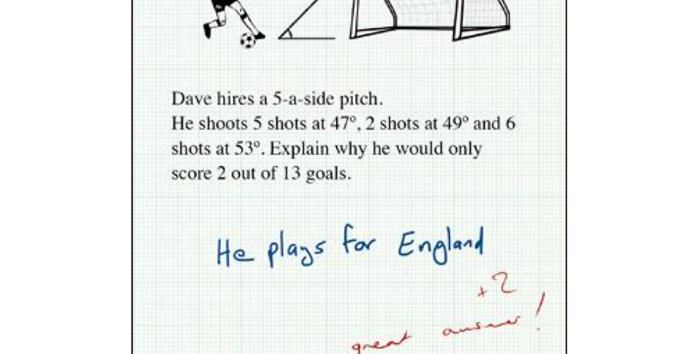 Funny birthday card or general card featuring silly answer to maths exam question and football