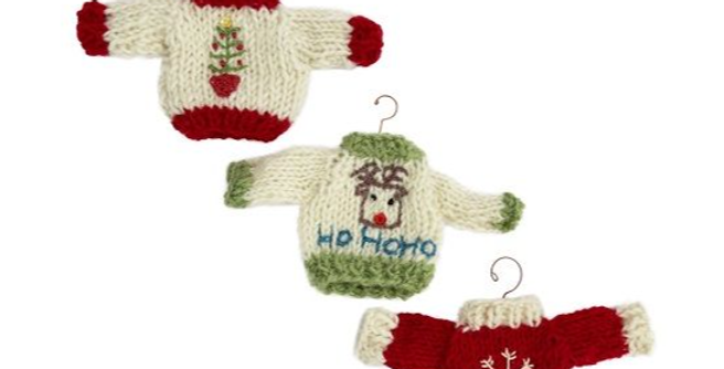 christmas jumper shaped baubles with clothes hanger shaped hook