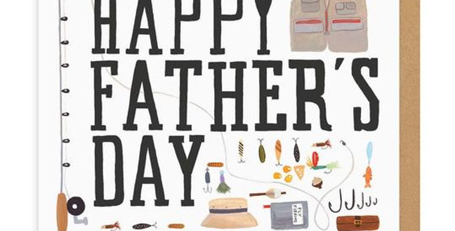Father's Day card with various fishing hobby items pictured and words Happy Father's Day