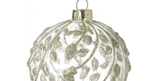 Gold Glittered Leaf Bauble